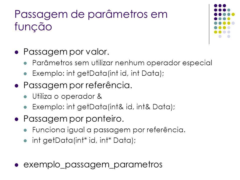 Passagem de parâmetros em função Passagem por valor. Parâmetros sem utilizar nenhum operador especial Exemplo: int getData(int id, int Data); Passagem