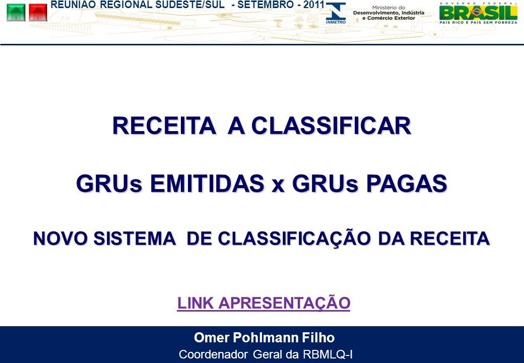 REUNIÃO REGIONAL SUDESTE/SUL - SETEMBRO - 2011 Omer Pohlmann Filho Coordenador Geral da RBMLQ-I RECEITA A CLASSIFICAR GRUs EMITIDAS x GRUs PAGAS NOVO