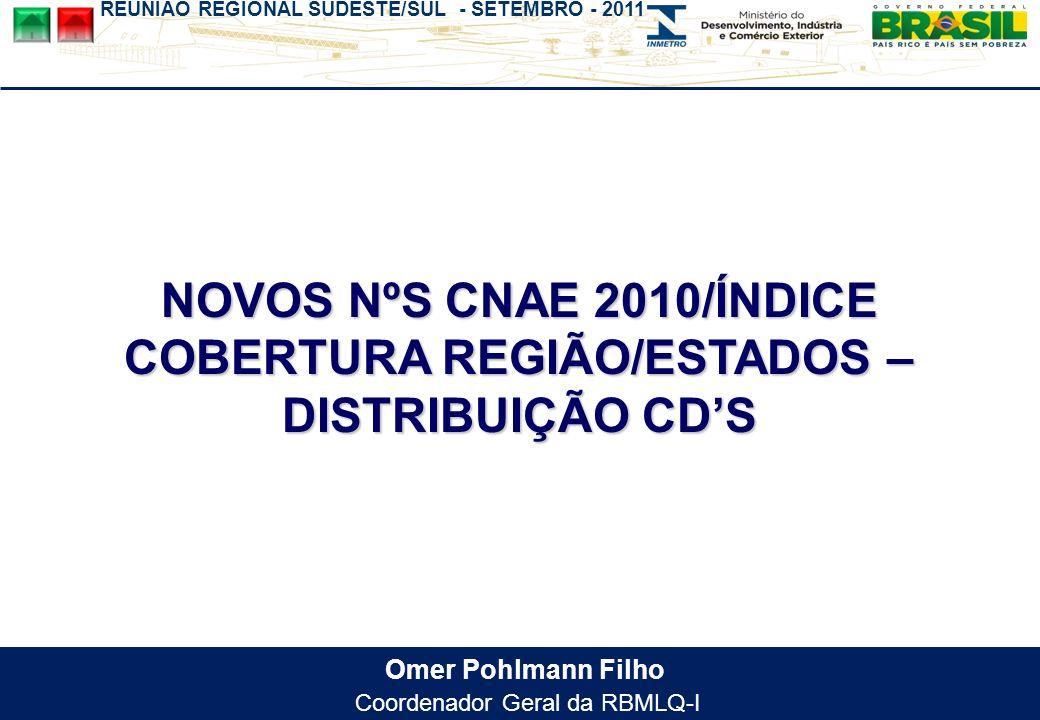 REUNIÃO REGIONAL SUDESTE/SUL - SETEMBRO - 2011 Omer Pohlmann Filho Coordenador Geral da RBMLQ-I NOVOS NºS CNAE 2010/ÍNDICE COBERTURA REGIÃO/ESTADOS –