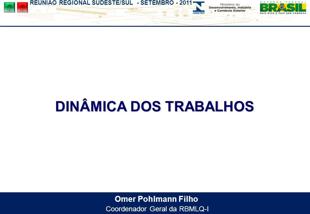 REUNIÃO REGIONAL SUDESTE/SUL - SETEMBRO - 2011 Omer Pohlmann Filho Coordenador Geral da RBMLQ-I DINÂMICA DOS TRABALHOS