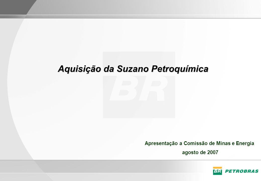 Fontes de Suprimento Produção Brasileira –Nafta Petroquímica: 5,8 MM t/a –Gás (etano e propano): 0,7 MM t/a Importação –Nafta Petroquímica: 3,5 MM t/a –Gás (etano e propano): não há* Capacidades atuais –Eteno: 3,6 MM t/a –Propeno: 1,8 MM t/a Demanda –Eteno (2015): 6,5 MM t/a –Propeno (2015): 4,3 MM t/a * O etano e propano do gás da Bolívia não é separado - O atendimento da demanda de eteno em 2015 exigirá uma diversificação de fontes de matéria- prima.
