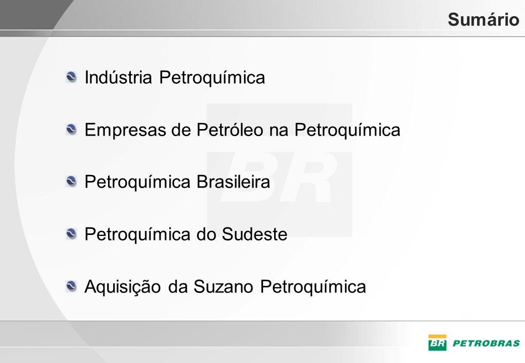 Sumário Indústria Petroquímica Empresas de Petróleo na Petroquímica Petroquímica Brasileira Petroquímica do Sudeste Aquisição da Suzano Petroquímica