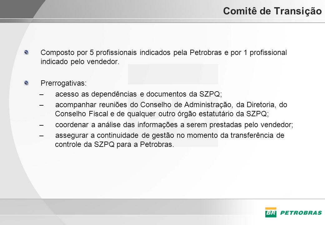 Comitê de Transição Composto por 5 profissionais indicados pela Petrobras e por 1 profissional indicado pelo vendedor. Prerrogativas: –acesso as depen