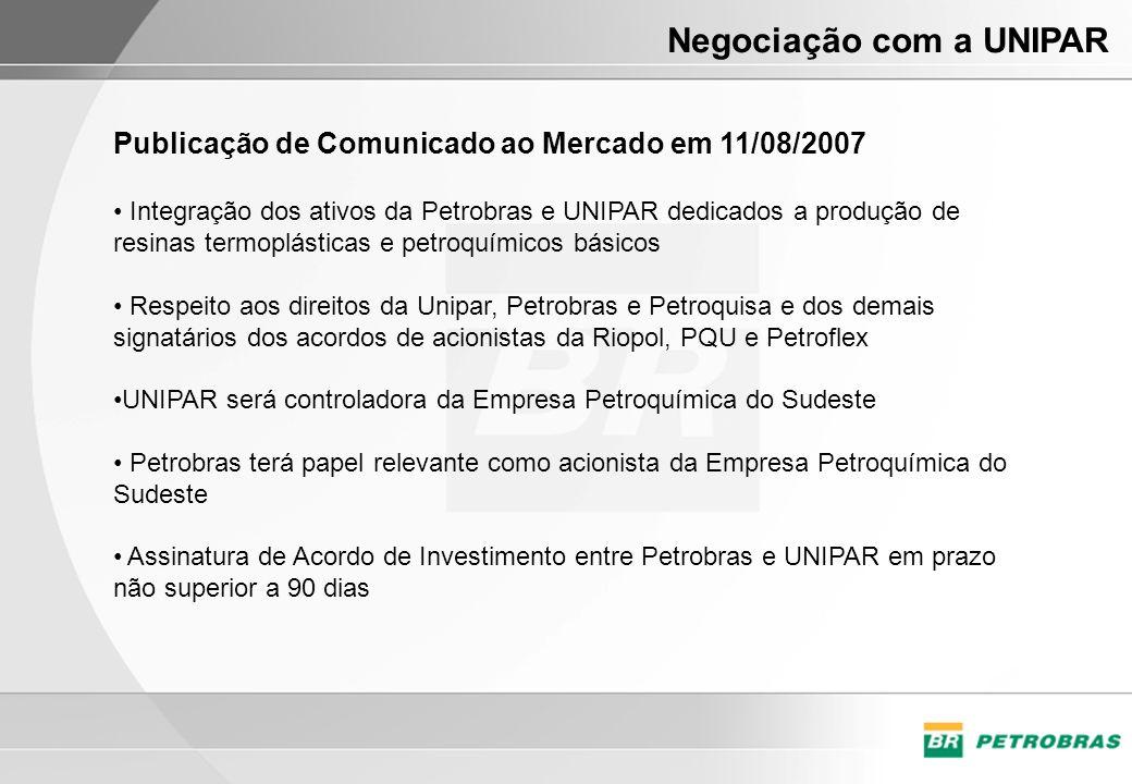 Publicação de Comunicado ao Mercado em 11/08/2007 Integração dos ativos da Petrobras e UNIPAR dedicados a produção de resinas termoplásticas e petroqu
