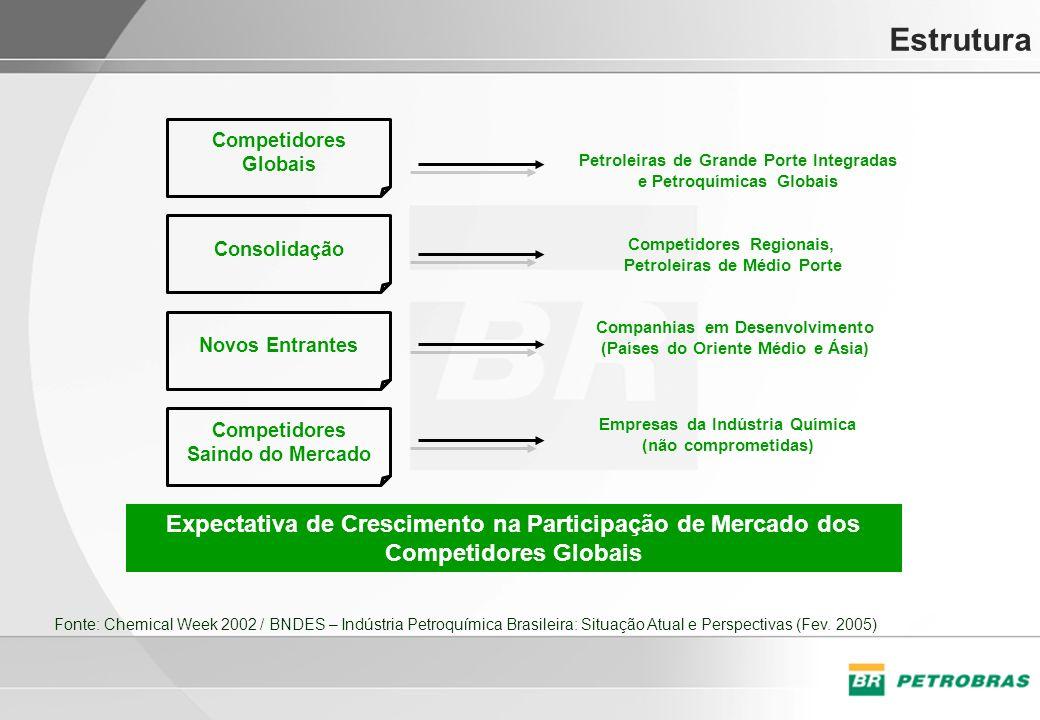 Estrutura Competidores Globais Consolidação Novos Entrantes Competidores Saindo do Mercado Petroleiras de Grande Porte Integradas e Petroquímicas Glob