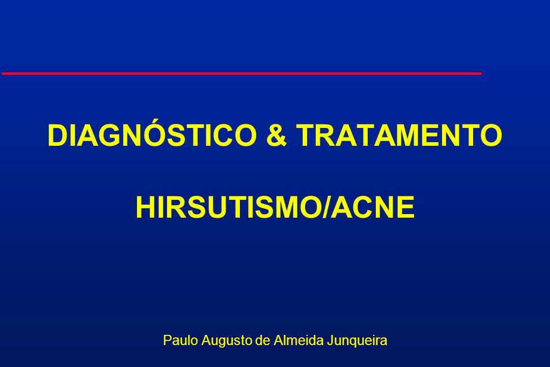 ACNE/HIRSUTISMO TRATAMENTO: ANTIANDROGÊNIOS Espironolactona 100 a 200 mg/dia u Inibição enzimática u Compete nos receptores u Antagonista da aldosterona