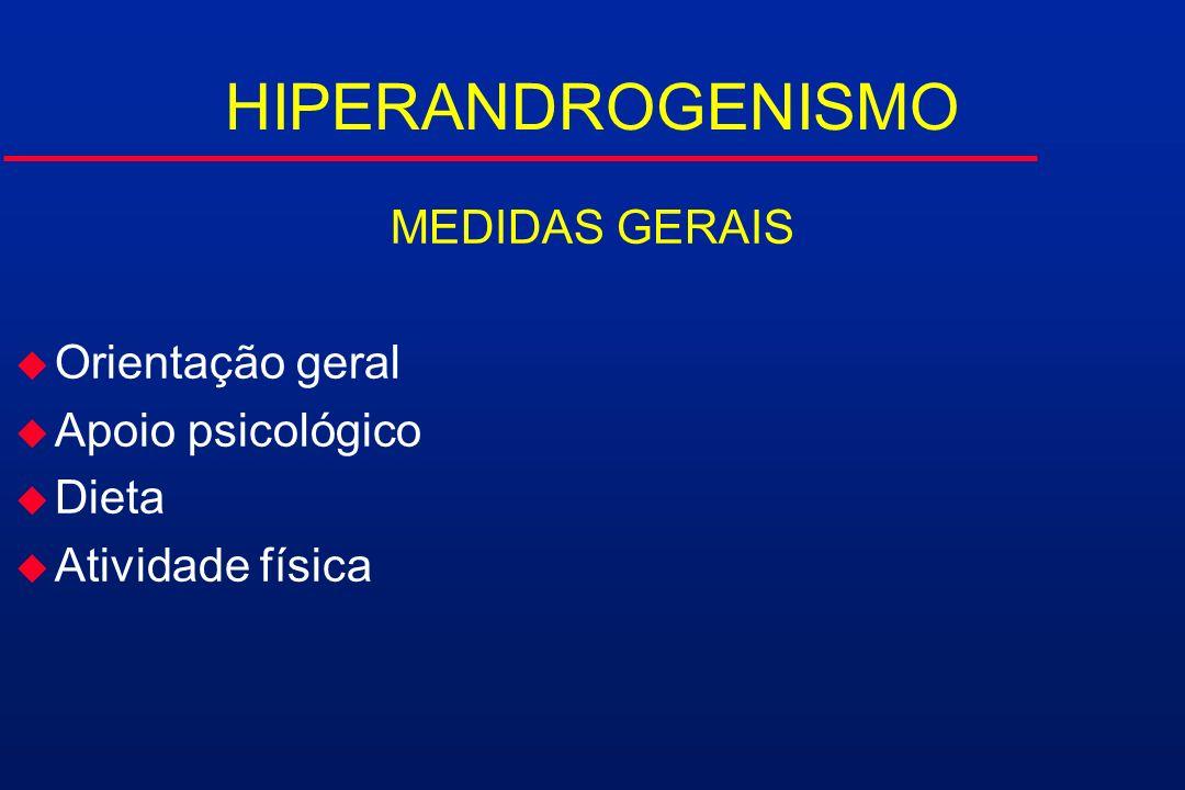 HIPERANDROGENISMO MEDIDAS GERAIS u Orientação geral u Apoio psicológico u Dieta u Atividade física