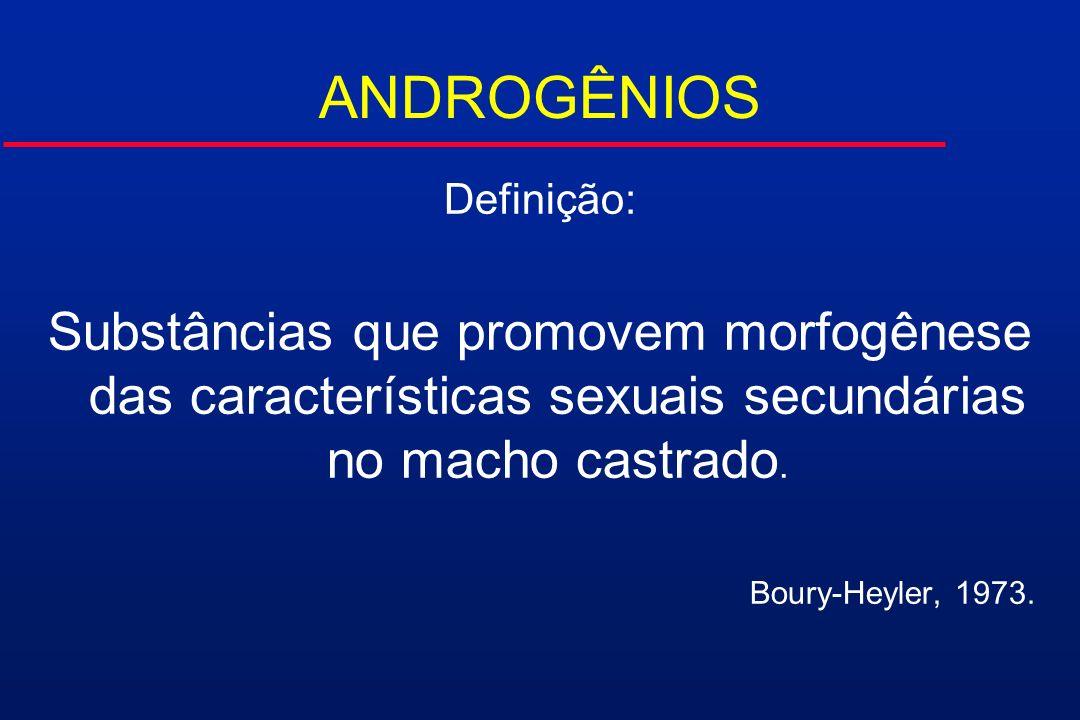 ANDROGÊNIOS Definição: Substâncias que promovem morfogênese das características sexuais secundárias no macho castrado. Boury-Heyler, 1973.