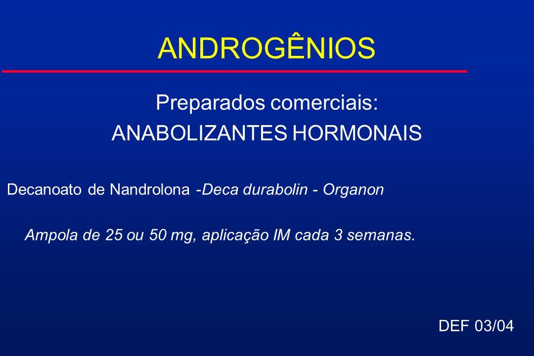 ANDROGÊNIOS Preparados comerciais: ANABOLIZANTES HORMONAIS Decanoato de Nandrolona -Deca durabolin - Organon Ampola de 25 ou 50 mg, aplicação IM cada