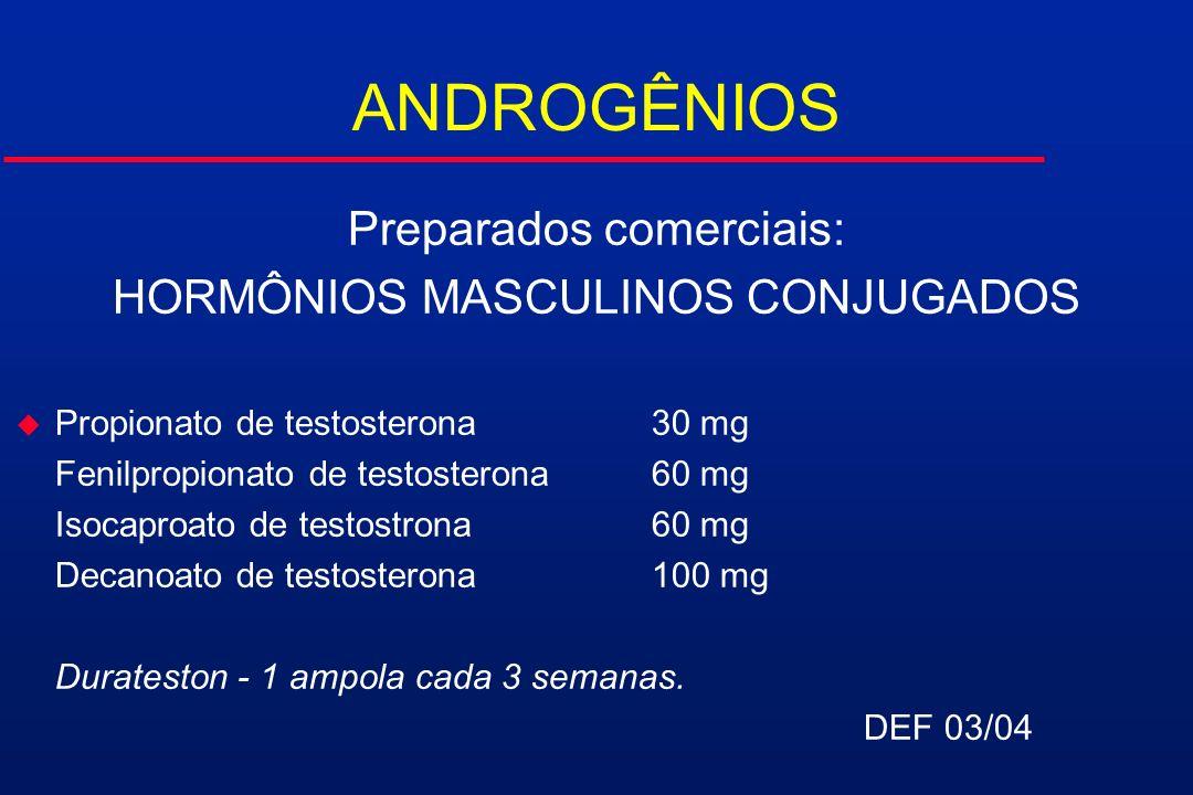 ANDROGÊNIOS Preparados comerciais: HORMÔNIOS MASCULINOS CONJUGADOS u Propionato de testosterona30 mg Fenilpropionato de testosterona60 mg Isocaproato