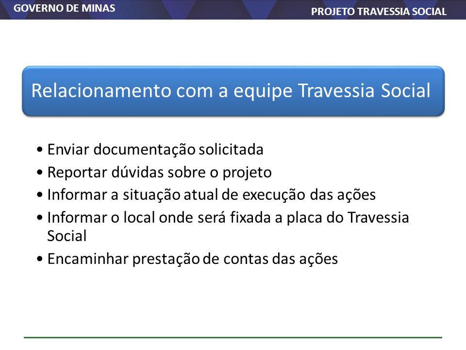GOVERNO DE MINAS PROJETO TRAVESSIA SOCIAL Relacionamento com a equipe Travessia Social Enviar documentação solicitada Reportar dúvidas sobre o projeto