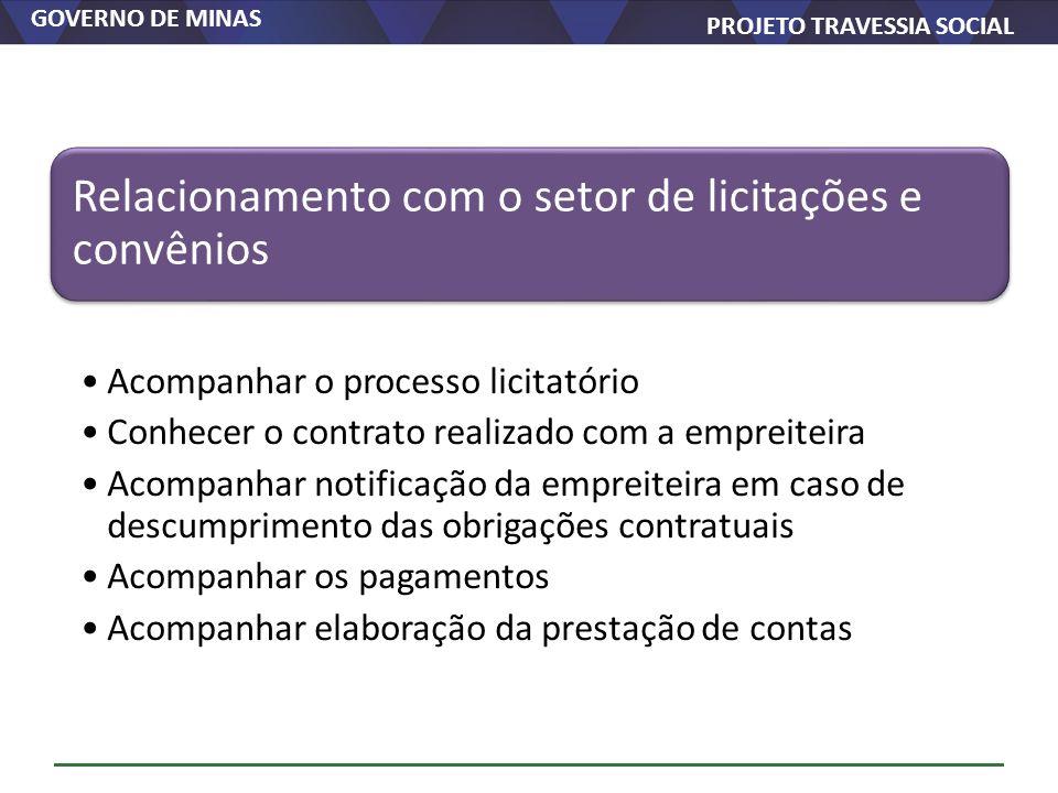 GOVERNO DE MINAS PROJETO TRAVESSIA SOCIAL Relacionamento com o setor de licitações e convênios Acompanhar o processo licitatório Conhecer o contrato r
