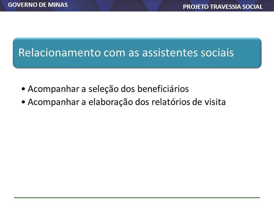 GOVERNO DE MINAS PROJETO TRAVESSIA SOCIAL Relacionamento com as assistentes sociais Acompanhar a seleção dos beneficiários Acompanhar a elaboração dos