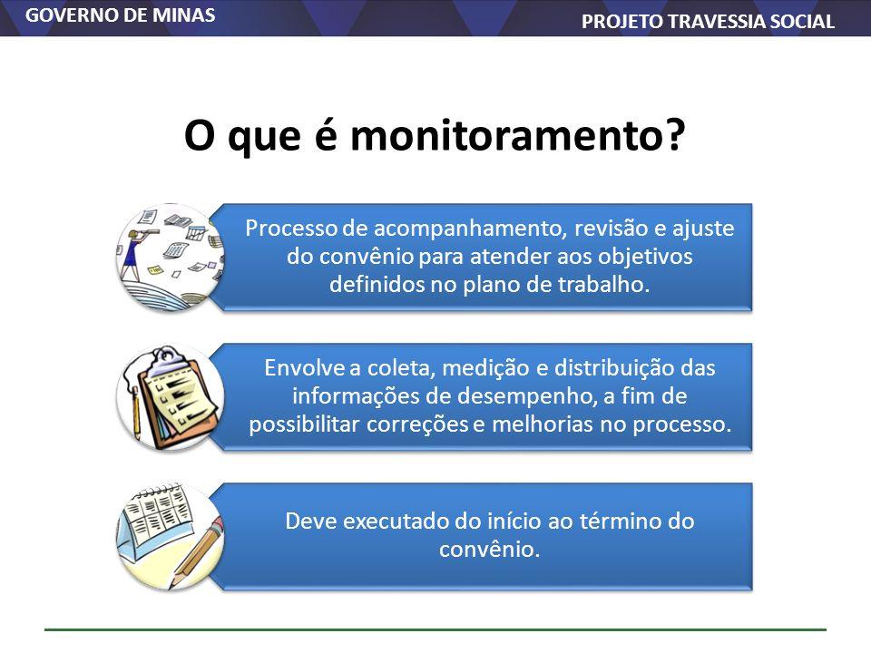 GOVERNO DE MINAS PROJETO TRAVESSIA SOCIAL Processo de acompanhamento, revisão e ajuste do convênio para atender aos objetivos definidos no plano de tr