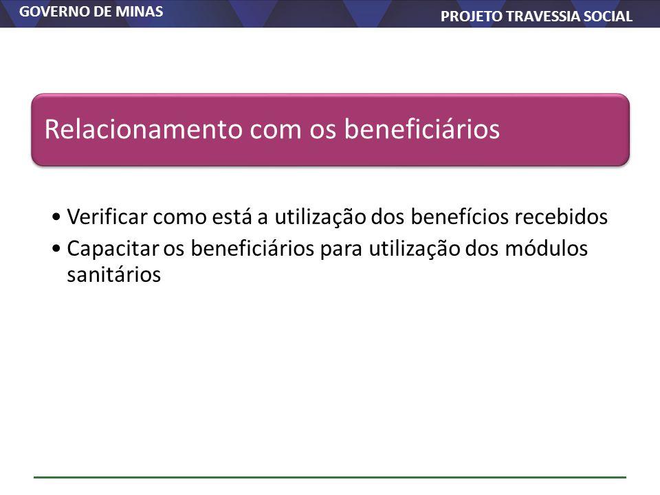 GOVERNO DE MINAS PROJETO TRAVESSIA SOCIAL Relacionamento com os beneficiários Verificar como está a utilização dos benefícios recebidos Capacitar os b