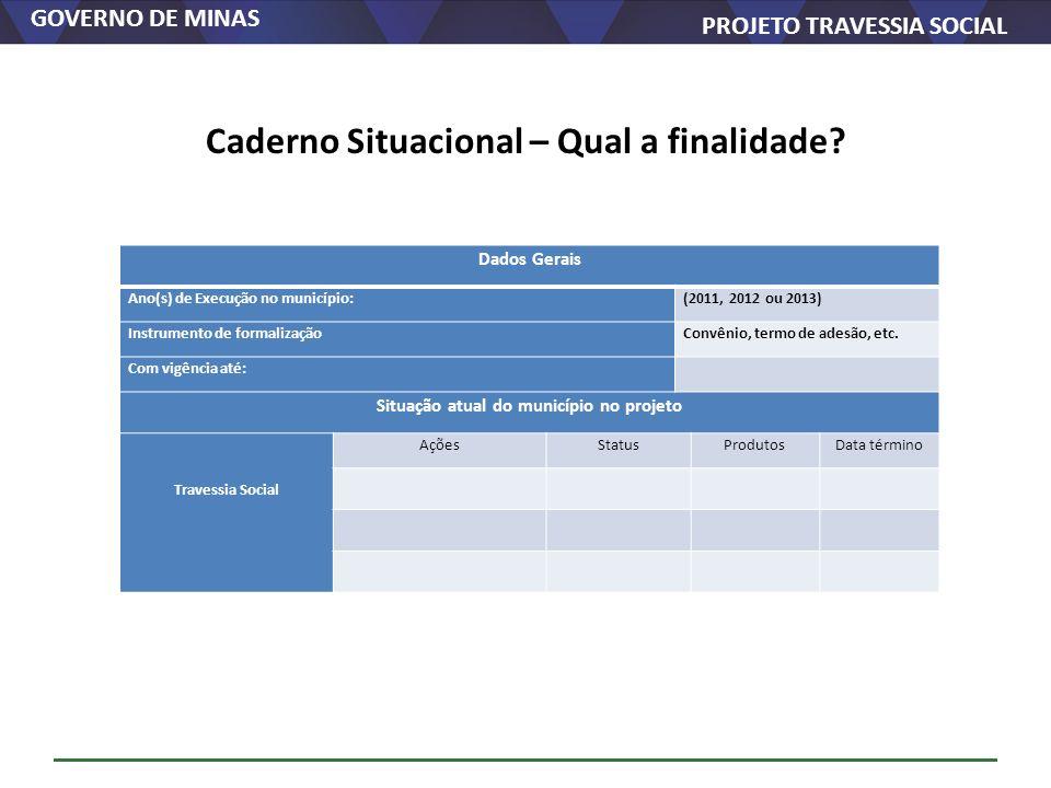GOVERNO DE MINAS PROJETO TRAVESSIA SOCIAL Caderno Situacional – Qual a finalidade? Dados Gerais Ano(s) de Execução no município:(2011, 2012 ou 2013) I