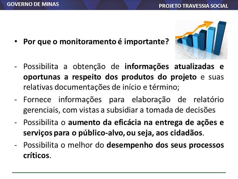 GOVERNO DE MINAS PROJETO TRAVESSIA SOCIAL Por que o monitoramento é importante? -Possibilita a obtenção de informações atualizadas e oportunas a respe