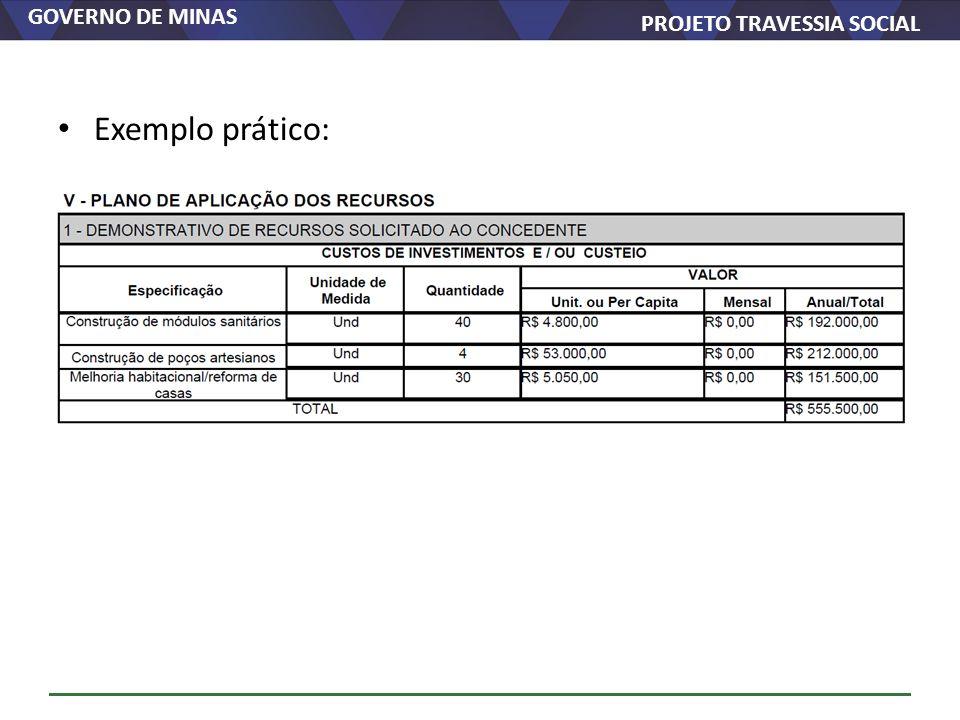 GOVERNO DE MINAS PROJETO TRAVESSIA SOCIAL Exemplo prático: