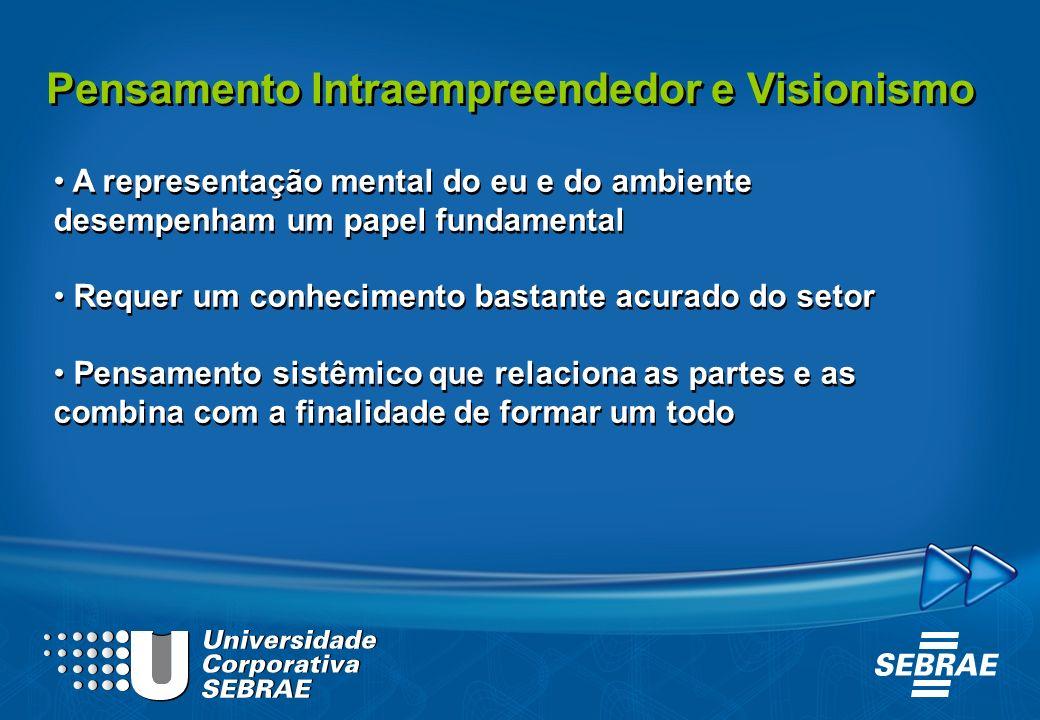 Pensamento Intraempreendedor e Visionismo A representação mental do eu e do ambiente desempenham um papel fundamental Requer um conhecimento bastante