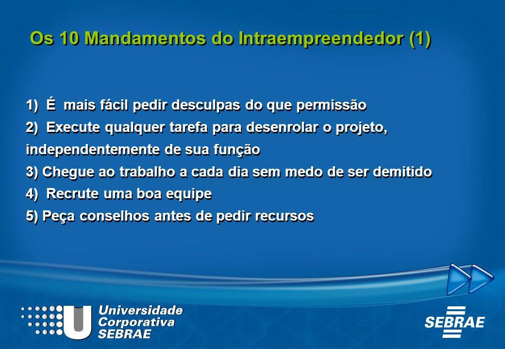 Os 10 Mandamentos do Intraempreendedor (1) 1) É mais fácil pedir desculpas do que permissão 2) Execute qualquer tarefa para desenrolar o projeto, inde