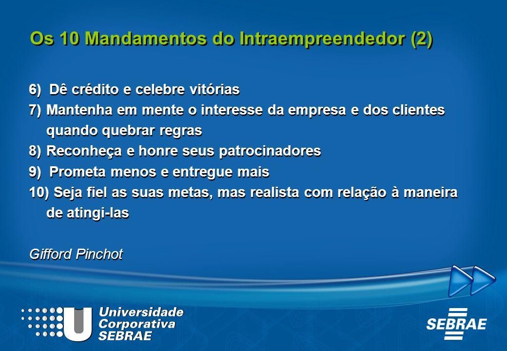 Os 10 Mandamentos do Intraempreendedor (2) 6) Dê crédito e celebre vitórias 7)Mantenha em mente o interesse da empresa e dos clientes quando quebrar r