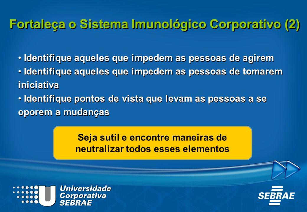 Fortaleça o Sistema Imunológico Corporativo (2) Identifique aqueles que impedem as pessoas de agirem Identifique aqueles que impedem as pessoas de tom