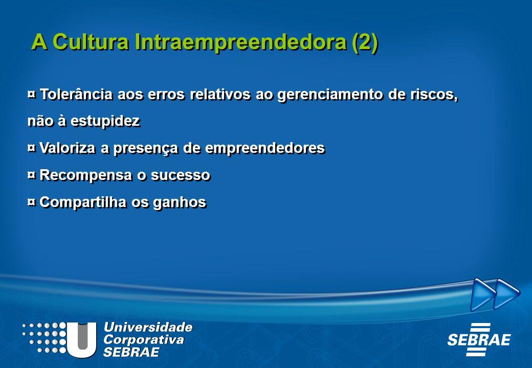 A Cultura Intraempreendedora (2) ¤ Tolerância aos erros relativos ao gerenciamento de riscos, não à estupidez ¤ Valoriza a presença de empreendedores