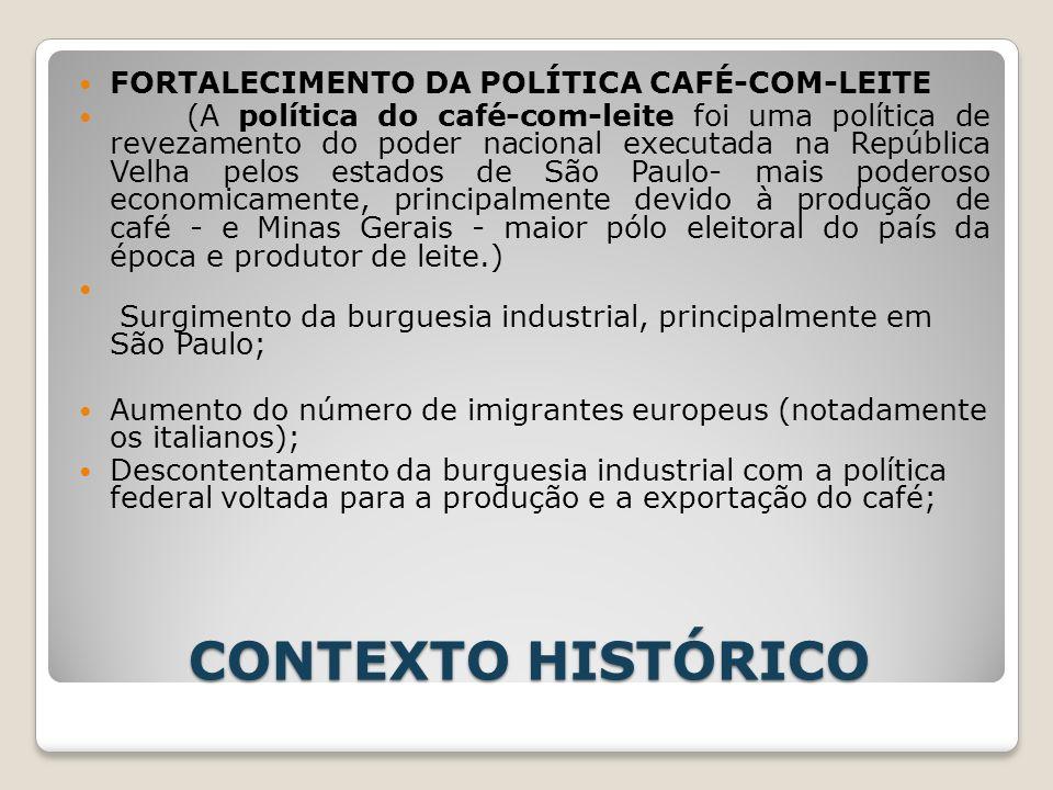 CONTEXTO HISTÓRICO FORTALECIMENTO DA POLÍTICA CAFÉ-COM-LEITE (A política do café-com-leite foi uma política de revezamento do poder nacional executada
