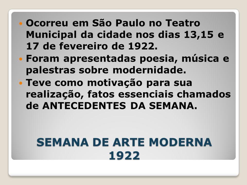 SEMANA DE ARTE MODERNA 1922 Ocorreu em São Paulo no Teatro Municipal da cidade nos dias 13,15 e 17 de fevereiro de 1922. Foram apresentadas poesia, mú