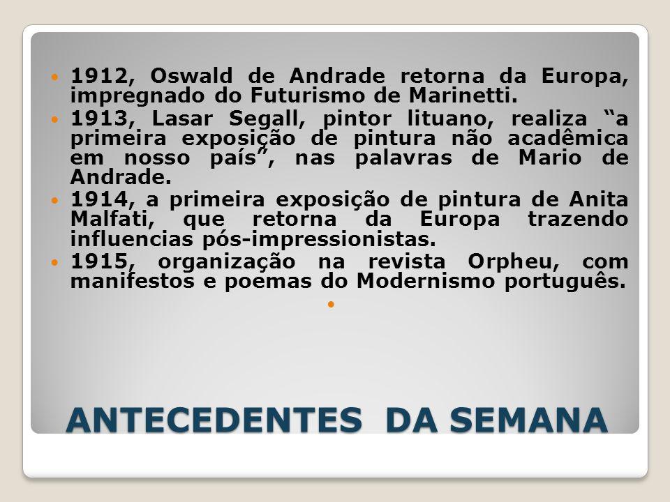 ANTECEDENTES DA SEMANA 1912, Oswald de Andrade retorna da Europa, impregnado do Futurismo de Marinetti. 1913, Lasar Segall, pintor lituano, realiza a