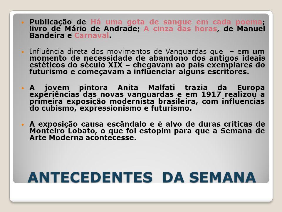 ANTECEDENTES DA SEMANA Publicação de Há uma gota de sangue em cada poema; livro de Mário de Andrade; A cinza das horas, de Manuel Bandeira e Carnaval.