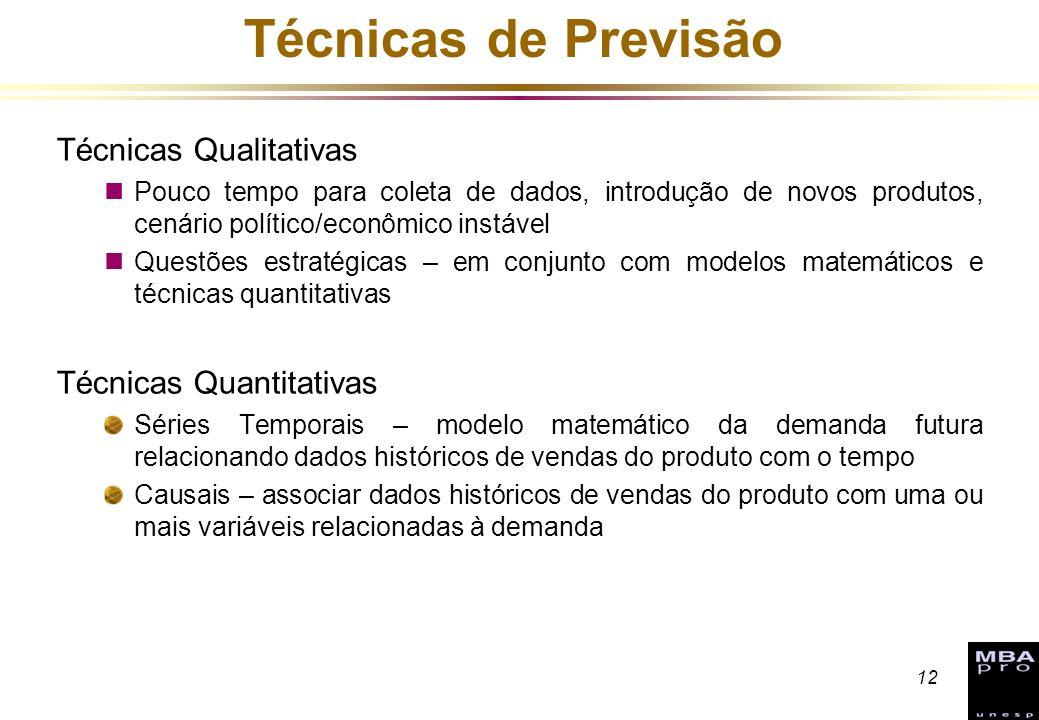 12 Técnicas de Previsão Técnicas Qualitativas nPouco tempo para coleta de dados, introdução de novos produtos, cenário político/econômico instável nQu