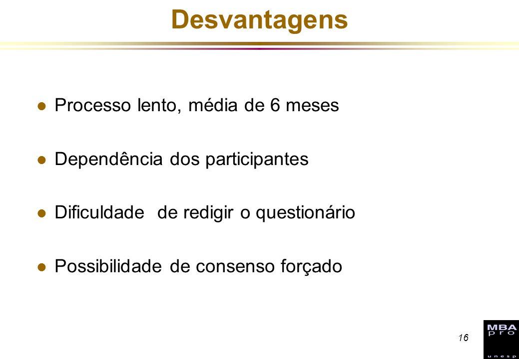 16 Desvantagens l Processo lento, média de 6 meses l Dependência dos participantes l Dificuldade de redigir o questionário l Possibilidade de consenso