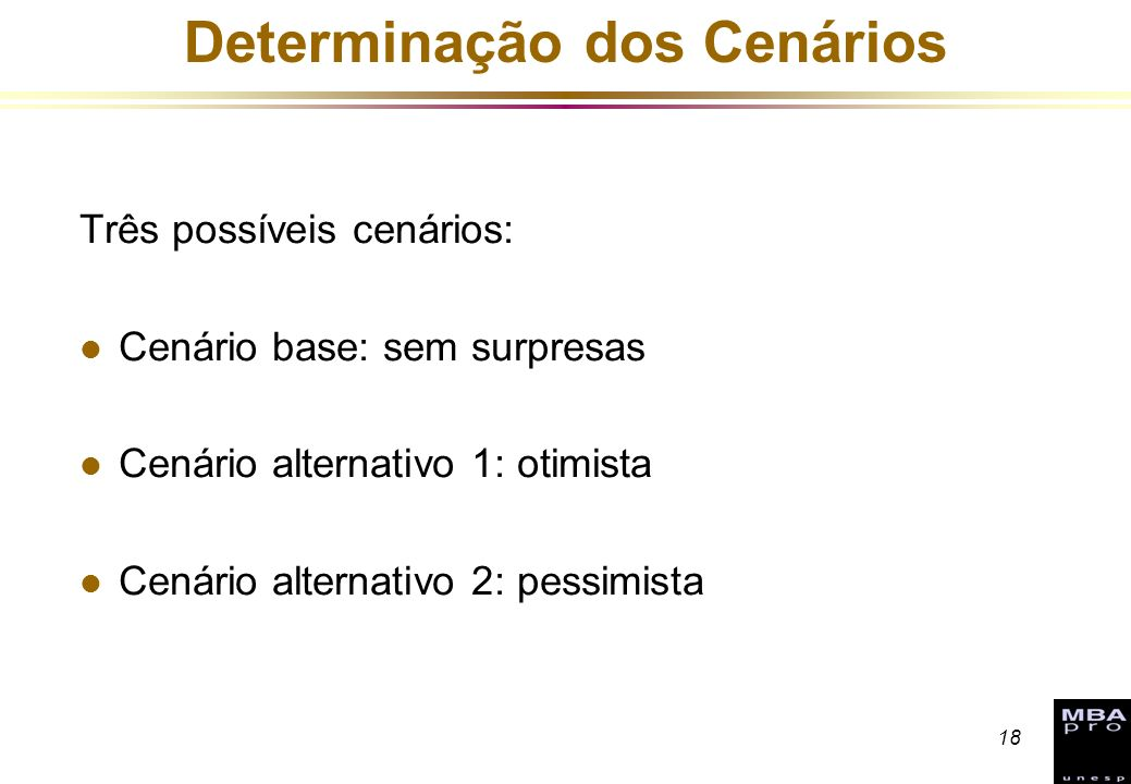 18 Determinação dos Cenários Três possíveis cenários: l Cenário base: sem surpresas l Cenário alternativo 1: otimista l Cenário alternativo 2: pessimi