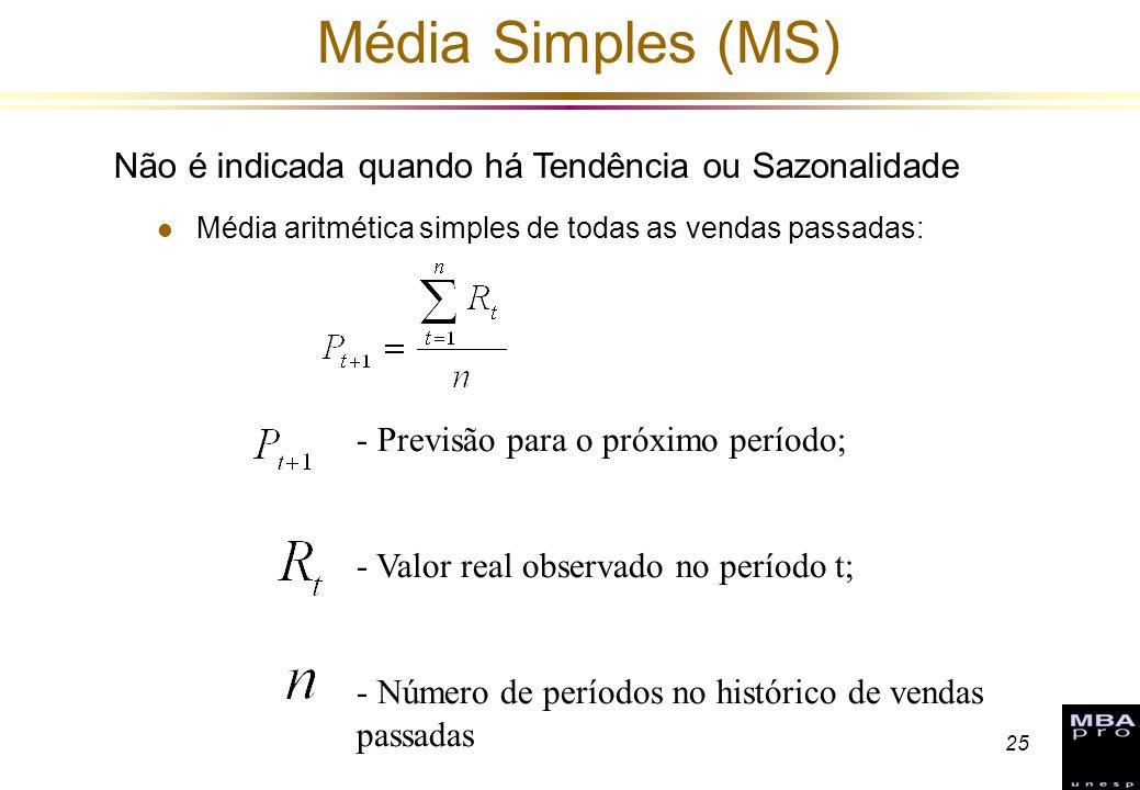 25 Média Simples (MS) l Média aritmética simples de todas as vendas passadas: - Previsão para o próximo período; - Valor real observado no período t;