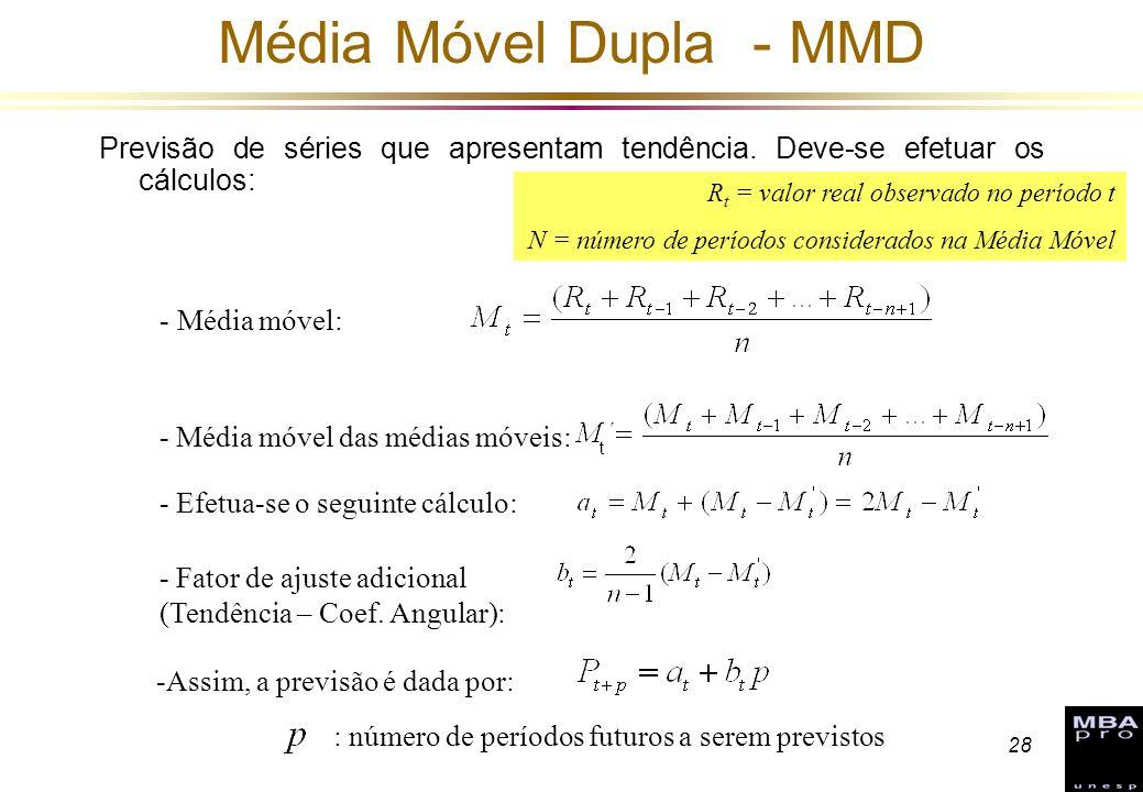 28 Média Móvel Dupla - MMD Previsão de séries que apresentam tendência. Deve-se efetuar os cálculos: : número de períodos futuros a serem previstos -