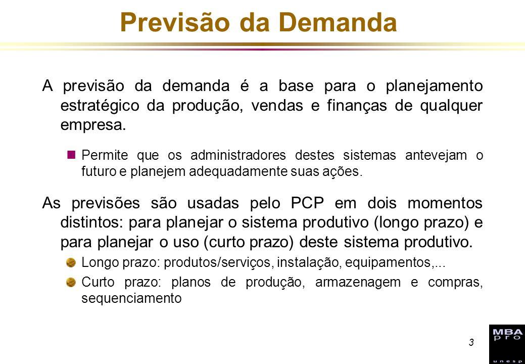 3 Previsão da Demanda A previsão da demanda é a base para o planejamento estratégico da produção, vendas e finanças de qualquer empresa. nPermite que