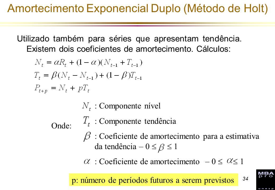 34 Amortecimento Exponencial Duplo (Método de Holt) Utilizado também para séries que apresentam tendência. Existem dois coeficientes de amortecimento.