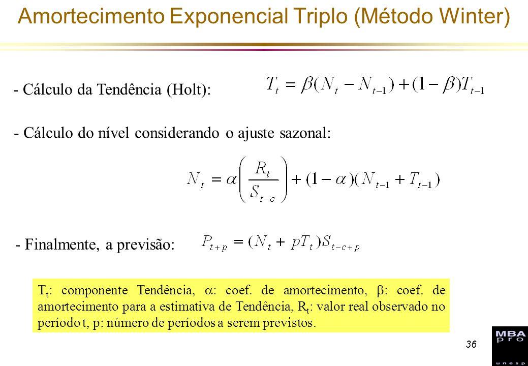36 - Cálculo da Tendência (Holt): - Cálculo do nível considerando o ajuste sazonal: - Finalmente, a previsão: Amortecimento Exponencial Triplo (Método