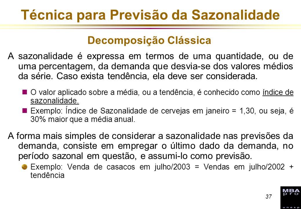 37 Técnica para Previsão da Sazonalidade A sazonalidade é expressa em termos de uma quantidade, ou de uma percentagem, da demanda que desvia-se dos va
