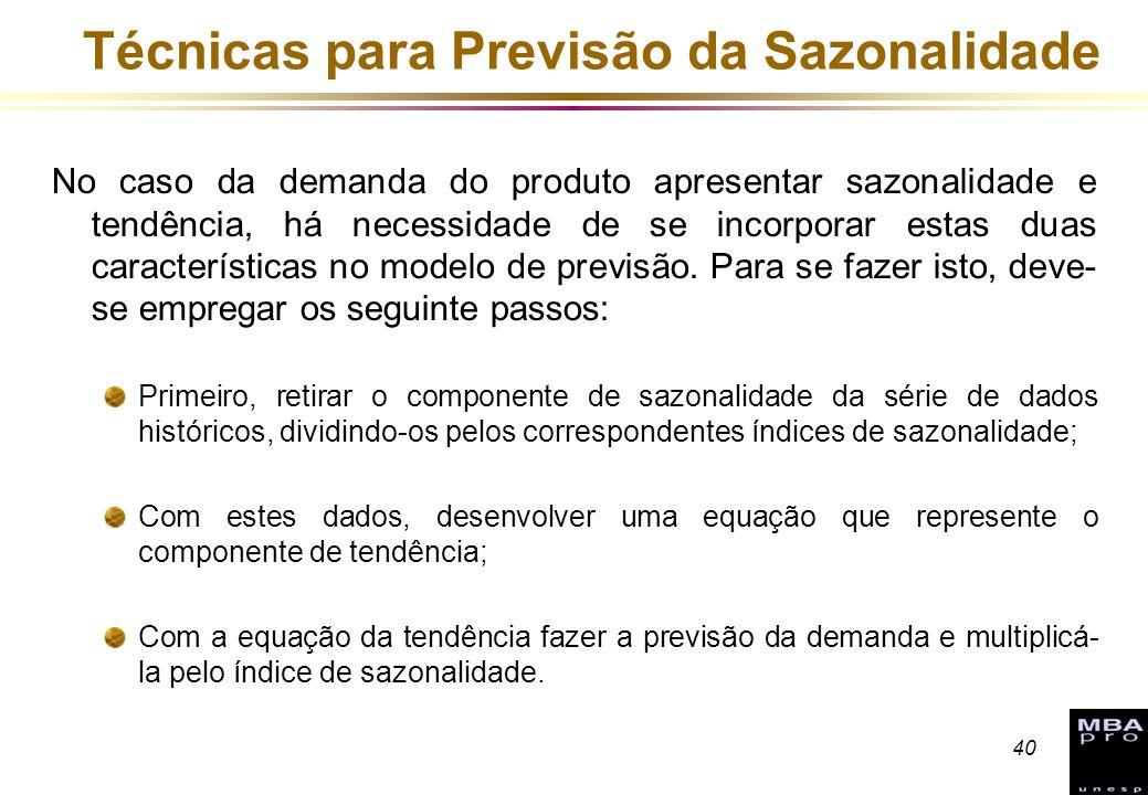 40 Técnicas para Previsão da Sazonalidade No caso da demanda do produto apresentar sazonalidade e tendência, há necessidade de se incorporar estas dua