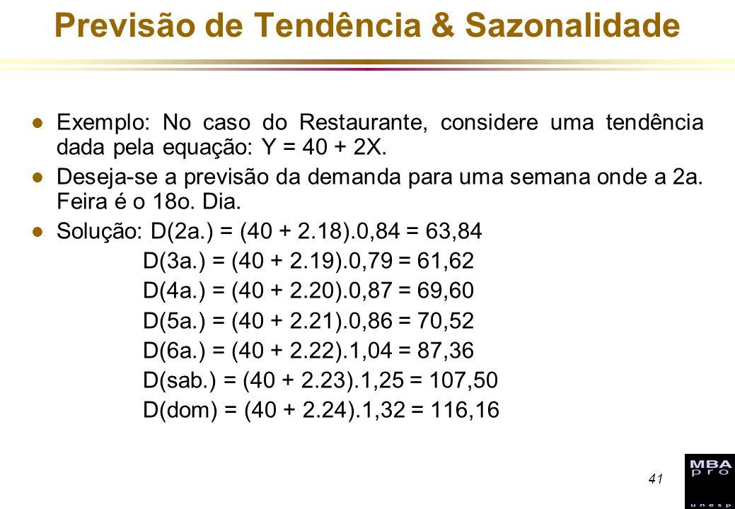41 Previsão de Tendência & Sazonalidade l Exemplo: No caso do Restaurante, considere uma tendência dada pela equação: Y = 40 + 2X. l Deseja-se a previ