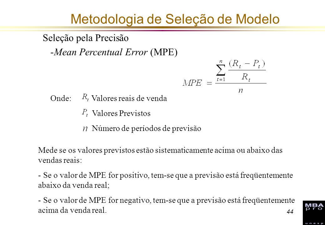 44 Metodologia de Seleção de Modelo Seleção pela Precisão -Mean Percentual Error (MPE) Onde: Valores reais de venda Valores Previstos Número de períod