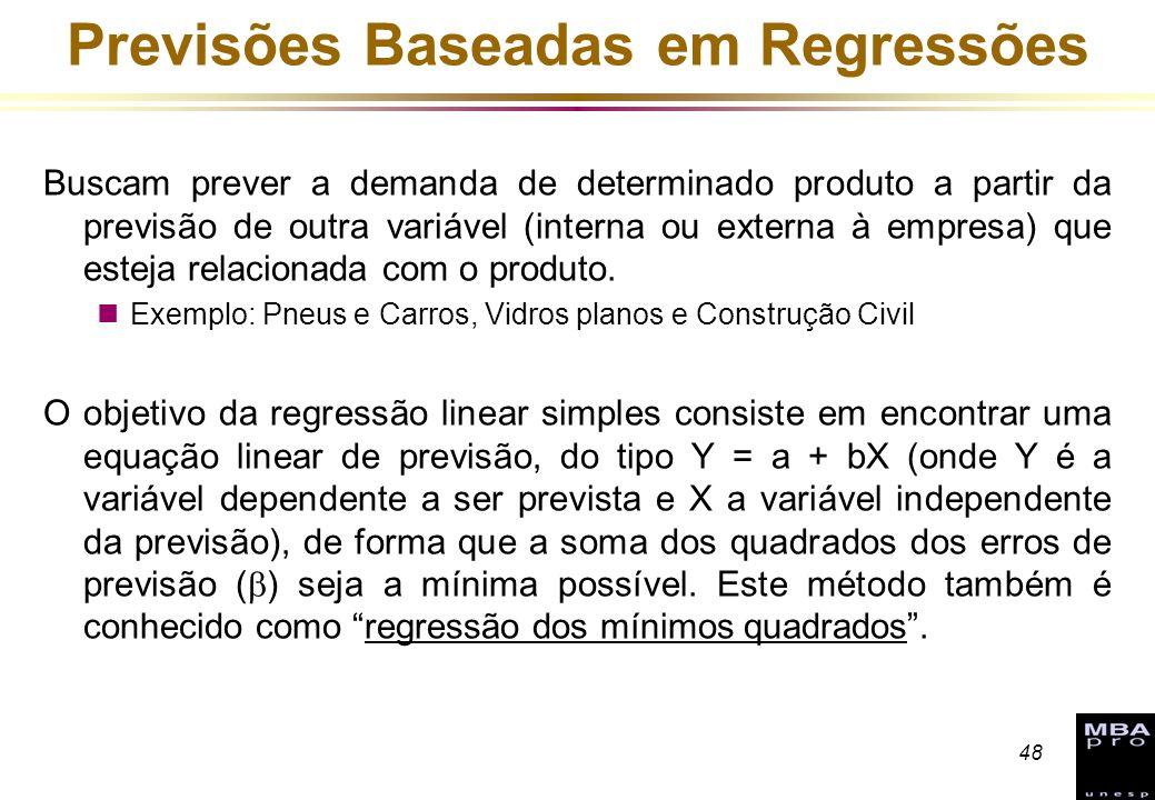 48 Previsões Baseadas em Regressões Buscam prever a demanda de determinado produto a partir da previsão de outra variável (interna ou externa à empres