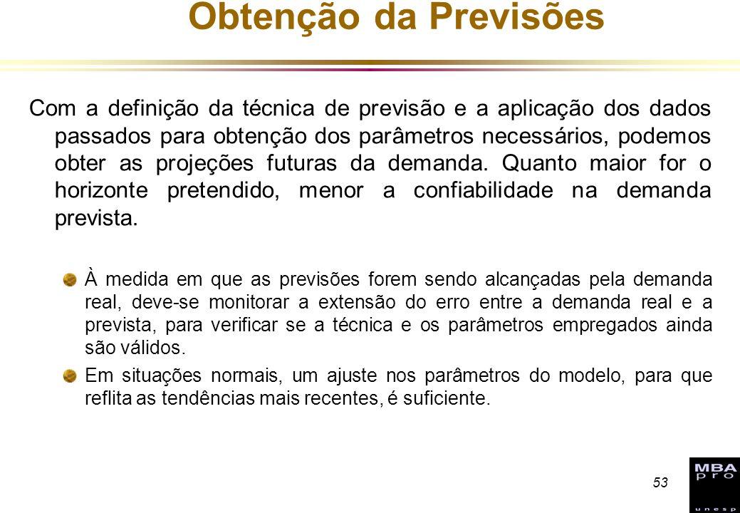 53 Obtenção da Previsões Com a definição da técnica de previsão e a aplicação dos dados passados para obtenção dos parâmetros necessários, podemos obt