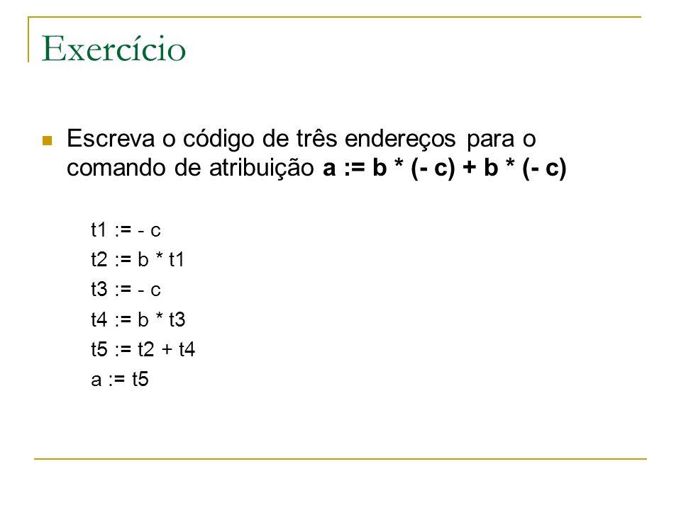 Exercício Escreva o código de três endereços para o comando de atribuição a := b * (- c) + b * (- c) t1 := - c t2 := b * t1 t3 := - c t4 := b * t3 t5