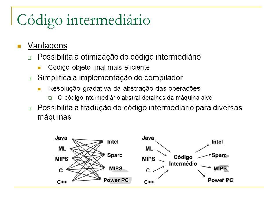 Código intermediário Vantagens Possibilita a otimização do código intermediário Código objeto final mais eficiente Simplifica a implementação do compi