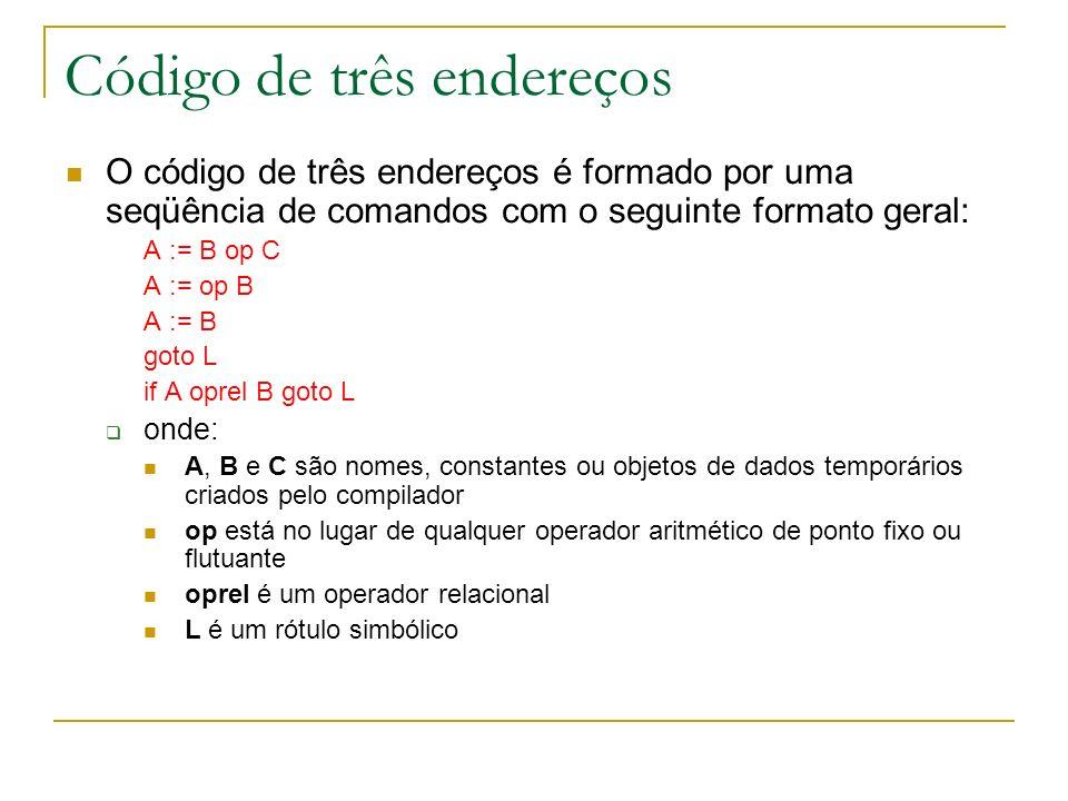 Código de três endereços O código de três endereços é formado por uma seqüência de comandos com o seguinte formato geral: A := B op C A := op B A := B