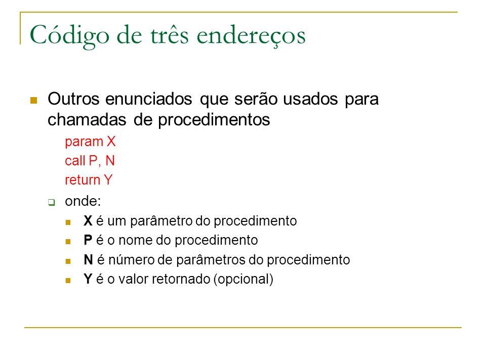 Código de três endereços Outros enunciados que serão usados para chamadas de procedimentos param X call P, N return Y onde: X é um parâmetro do proced