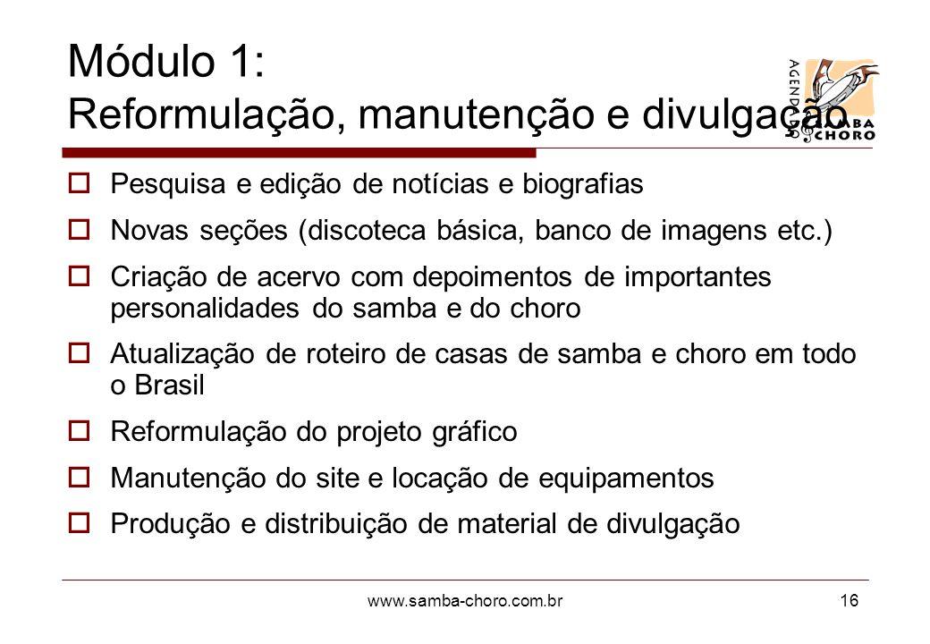 www.samba-choro.com.br16 Módulo 1: Reformulação, manutenção e divulgação Pesquisa e edição de notícias e biografias Novas seções (discoteca básica, ba